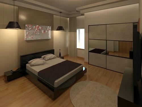 עיצוב חדר שינה מפואר עם רצפת עץ בפנטהאוז
