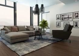 """עיצוב סלון חם לדירת גג בת""""א"""