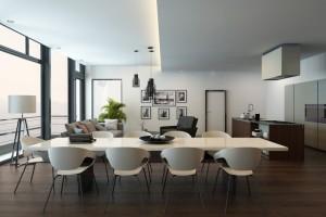 עיצוב פנים לדירת גג בתל אביב עם חלל פתוח למטבח וסלון