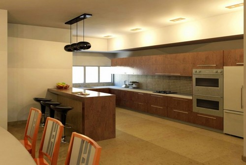 עיצוב פנים מודרני עם מבט על המטבח